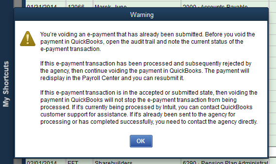 Semi-Useless Warning From Quickbooks