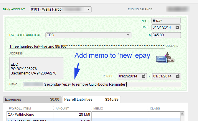 Append memo to the replacement 'e-pay' entry.