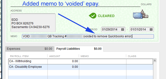 Add memo to original e-payment that we voided out at the beginning.